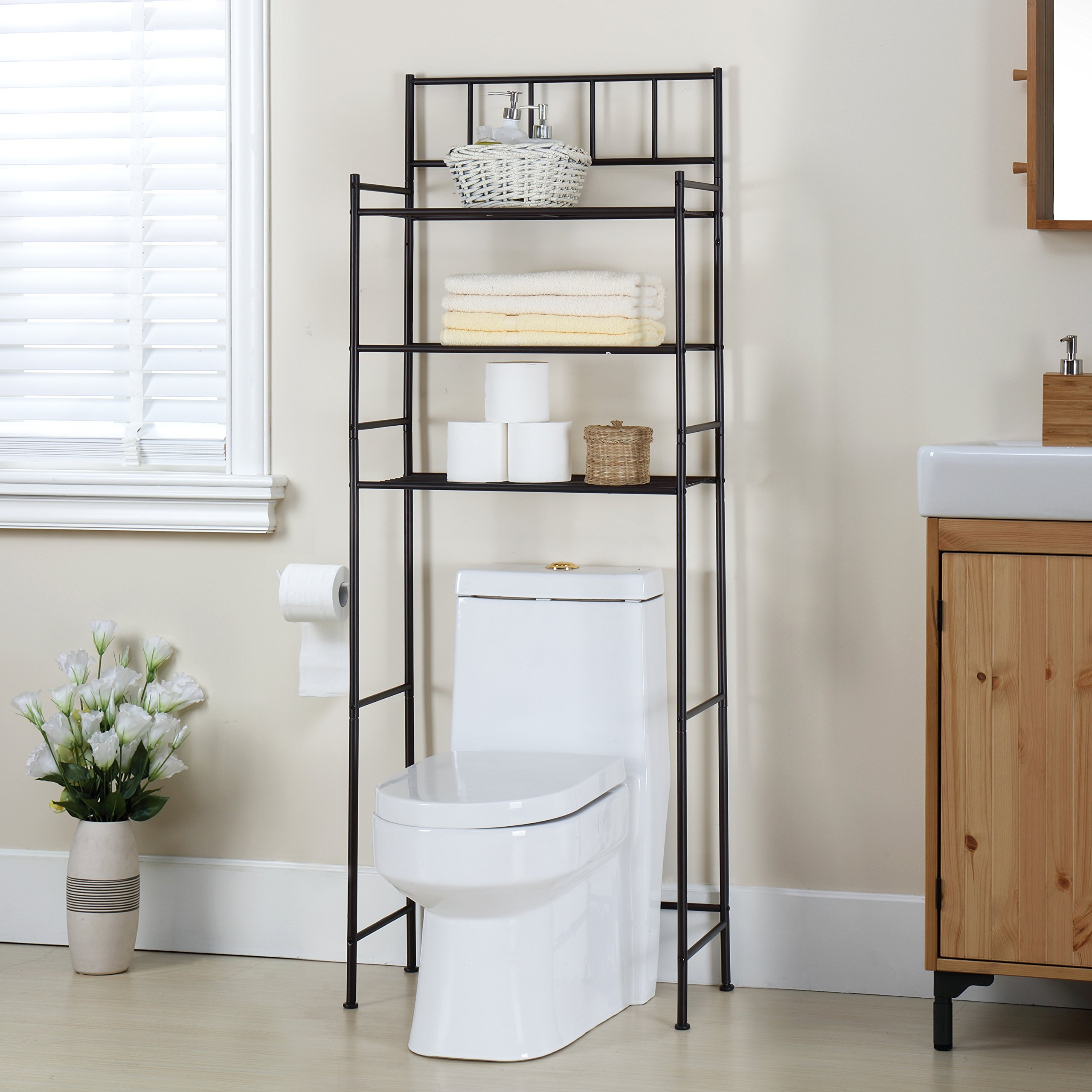 Finnhomy 3 Shelf Bathroom Space Saver Over the Toilet Rack Bathroom Corner Stand Storage Organizer Accessories Bathroom Cabinet Tower Shelf with ORB Finish 23.5'' W x 10.5'' D x 64.5'' H