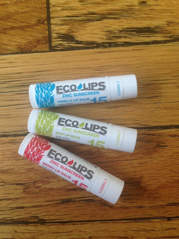 Amazon.com : Eco Lips Zinc SPF 15 Sunscreen Lip Balms - Mint, Berry ...