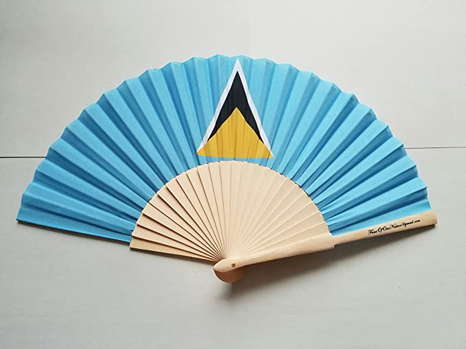 Fans Of Our Nation St Lucia Flag Fabric Folding Hand Fan With Bamboo Handle Amazoncouk Garden Outdoors