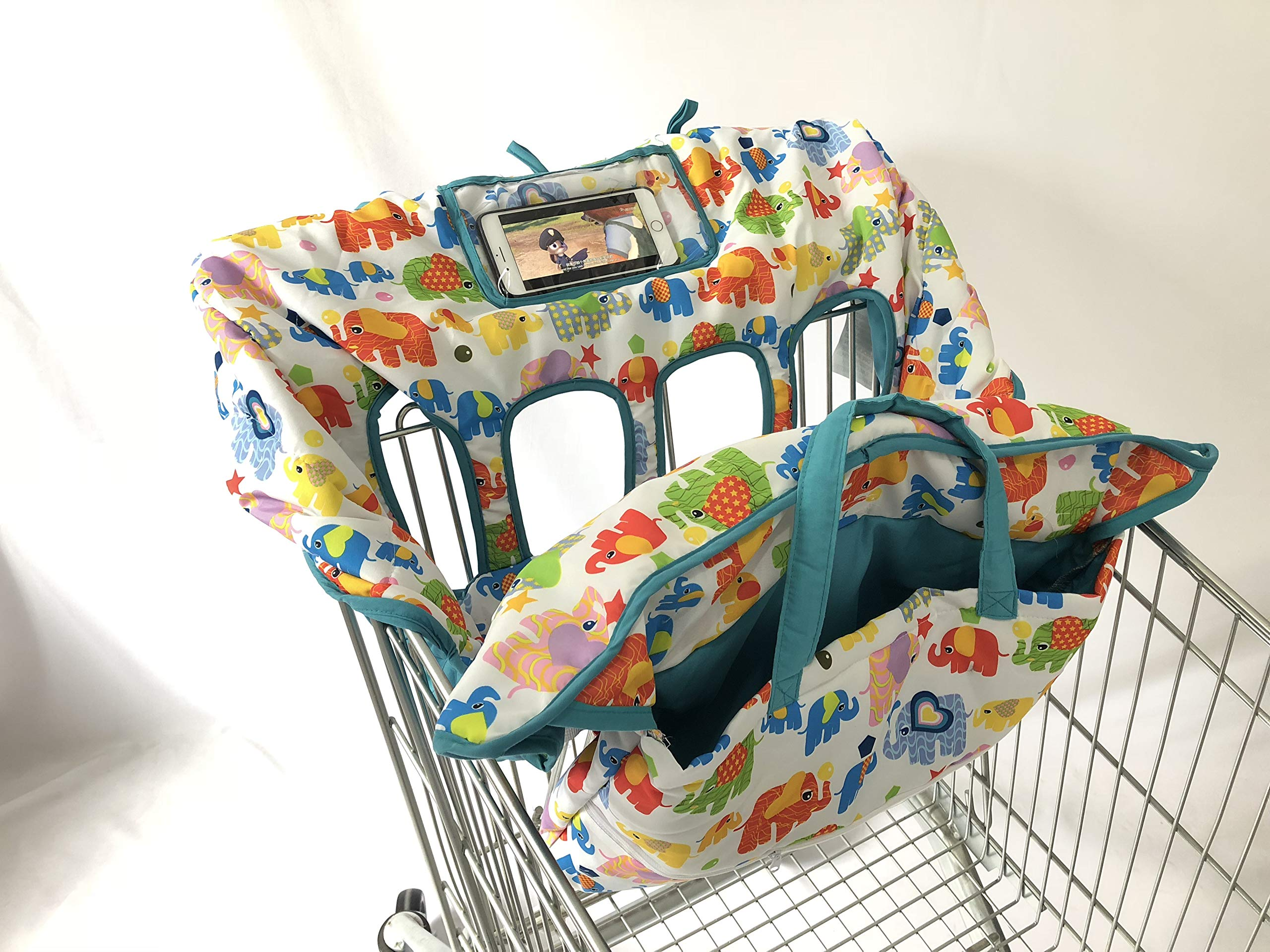 4 Legs Holes Double Babies Shopping Cart Cover for Twin or Baby Siblings. X-Large Size That was Guaranteed to Fit Wholesale Warehouse Grocery Stores (Colorful Elephant)