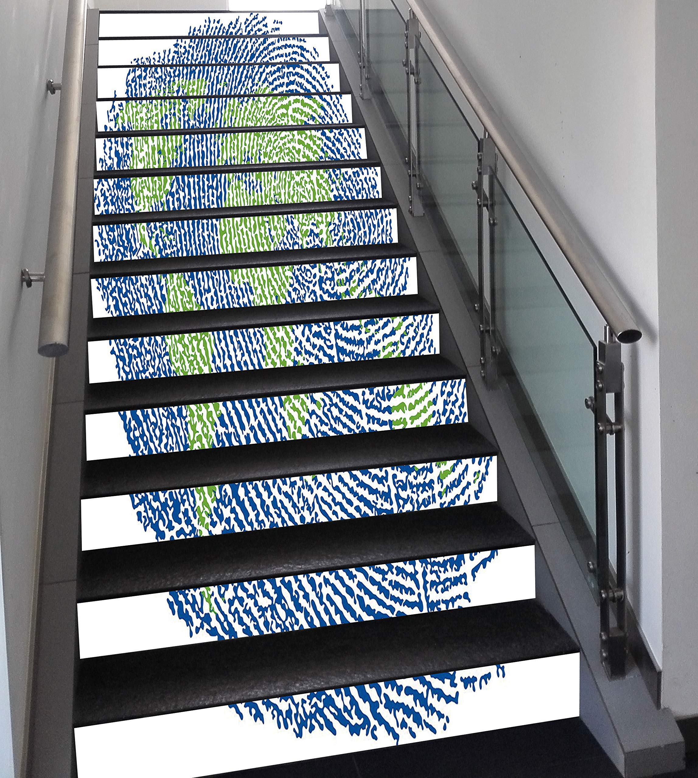 Stair Stickers Wall Stickers,13 PCS Self-Adhesive,World Map,Map of The World Fingerprint Style Continents Asia Europe Africa America,Navy Blue Green,Stair Riser Decal for Living Room, Hall, Kids Room