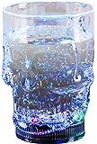 LED-Highlights Glas Becher Cocktailglas Totenkopf 350 ml LED Rgb bunt blinkend Batterie wechselbar Bar Kunststoff Trinkglas Innen Aussen