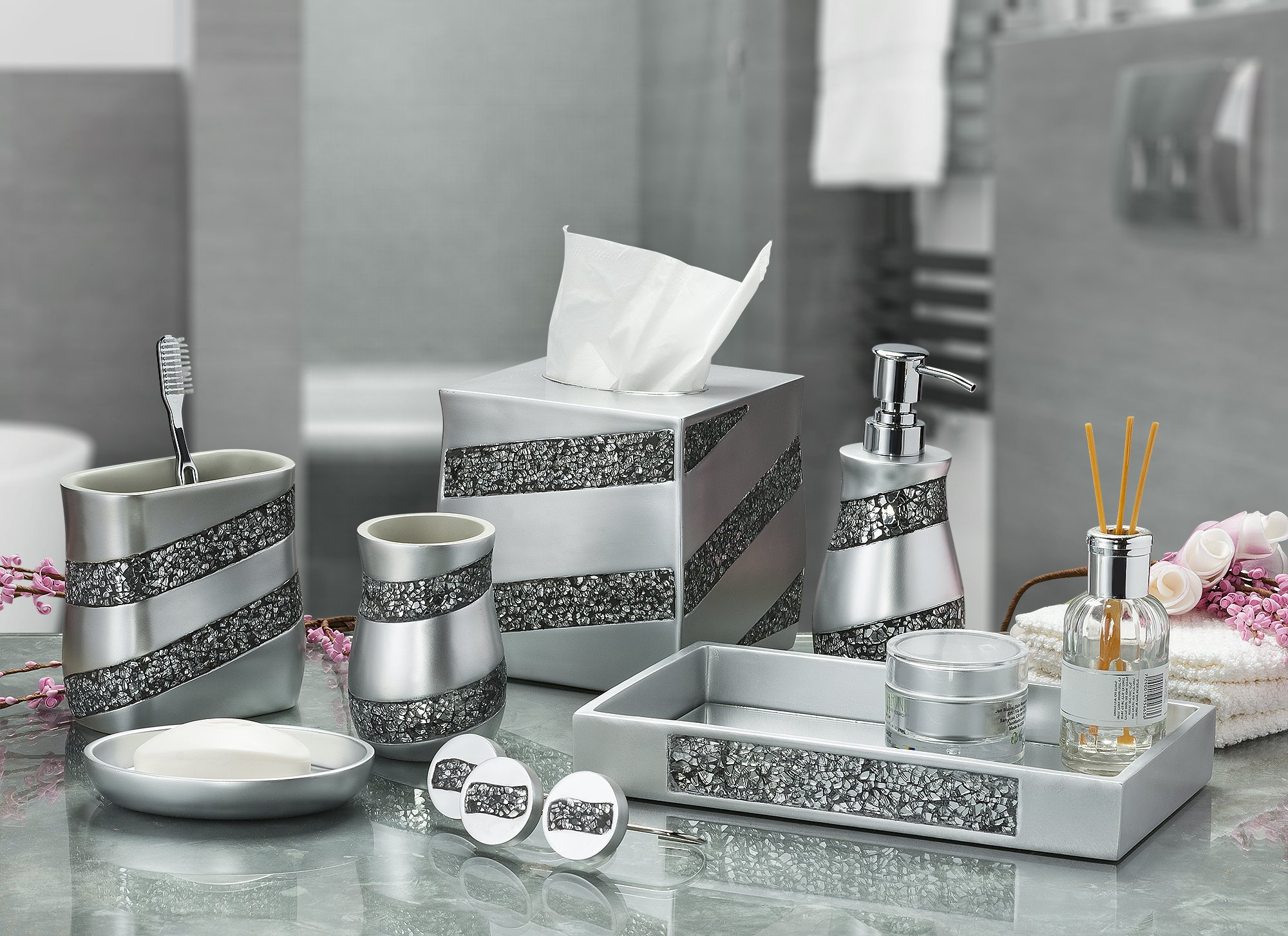 Dwellza Silver Mosaic Vanity Mirror Tray for Dresser 111 x 62 x