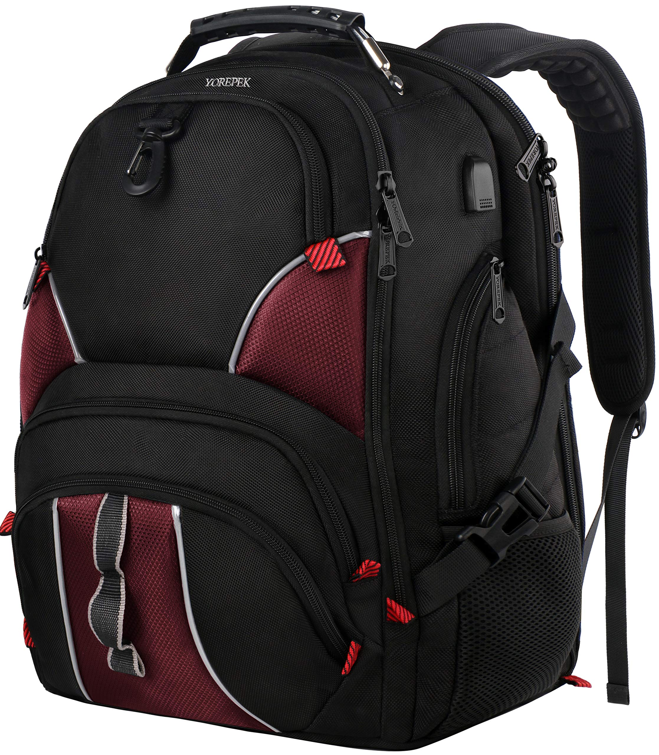 YOREPEK Extra Large Backpack,TSA Laptop Backpack with Luggage Sleeve,High School Backpack for Boys Girl,Large College Backpack with Laptop Compartment for Men Wowen,17 Inch Travel Laptop Backpack,Red by YOREPEK