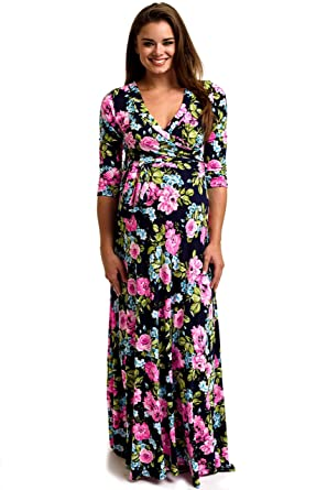 3 4 Sleeve Maxi Maternity Dress