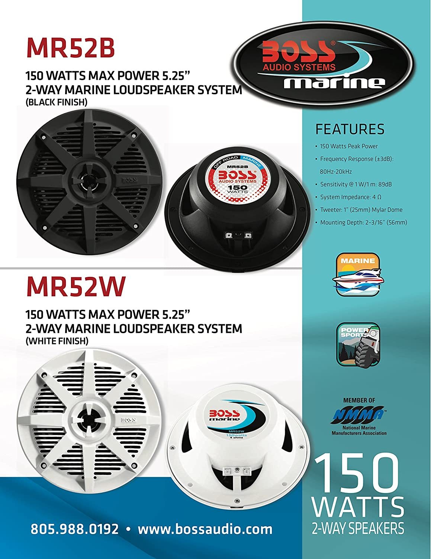 5.25 Inch BOSS Audio Systems MR52B 150 Watt Per Pair Full Range 2 Way Weatherproof Marine Speakers Sold in Pairs