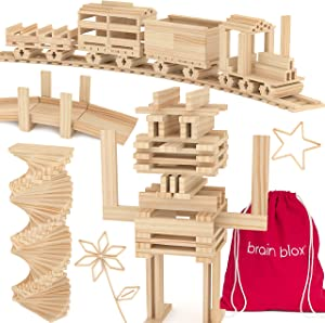 Brain Blox Wooden Building Blocks for Kids - Building Planks Set, STEM Toys for Boys and Girls (300 Pieces)