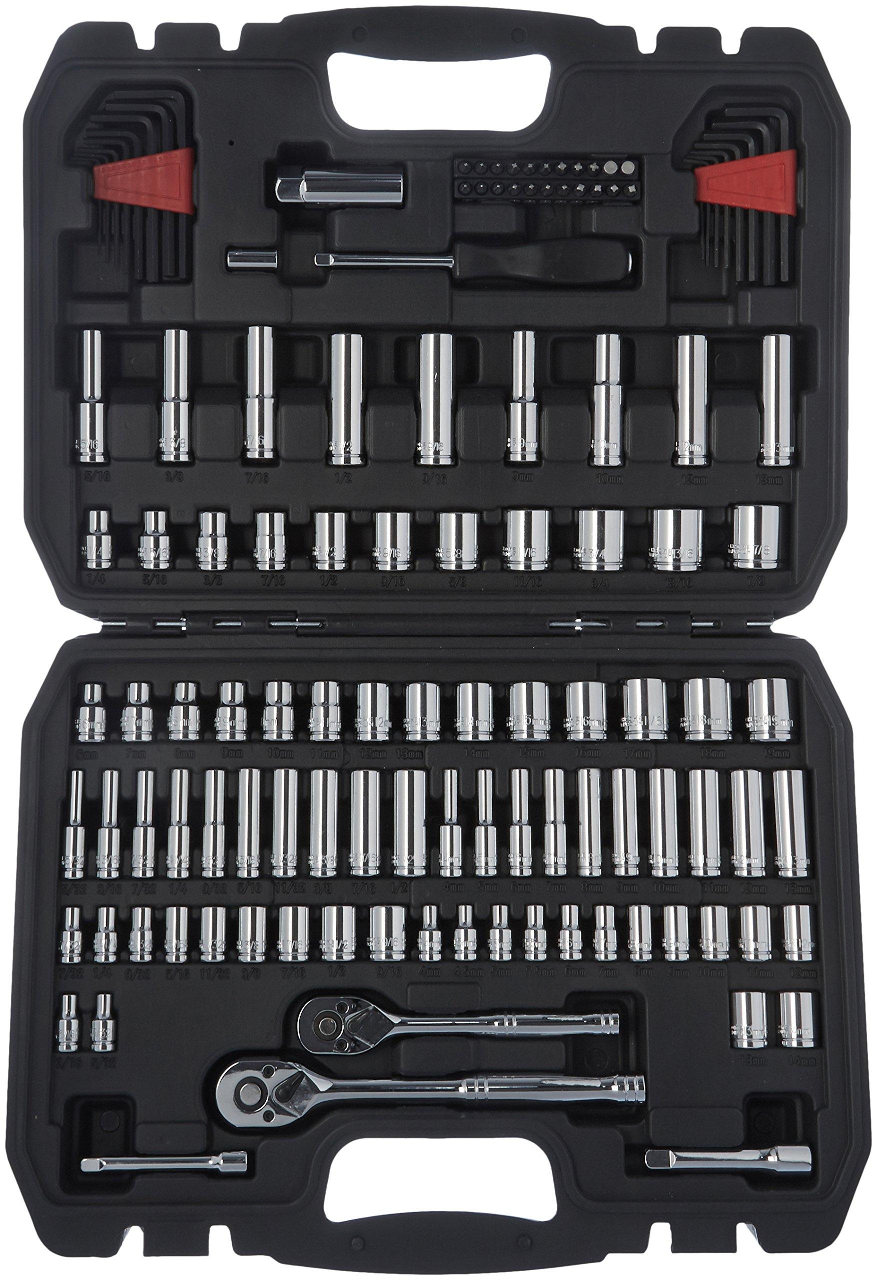 Amazon Basics Mechanic Socket Tool Kit Set With Case - Set of 123