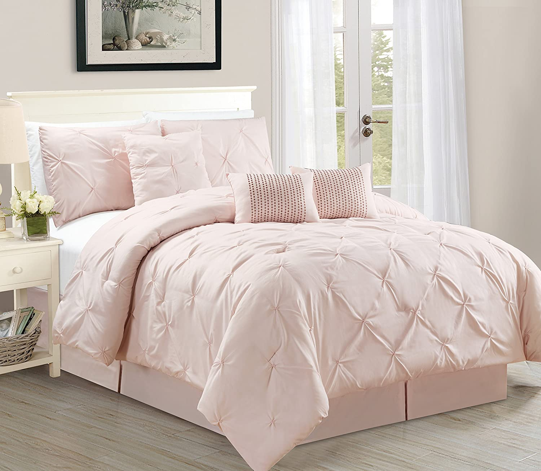 WPM 7 Piece Luxurious Pinch Pleat Decorative Pintuck Comforter Set, All Season Rose Bedding (King)