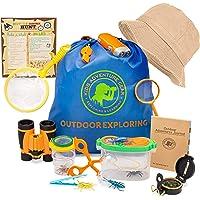 Kids Outdoor Adventure Nature Explorer & Bug Catching Kit w/Binoculars, Magnifying Glass, Compass, Camping & Hiking Gear…
