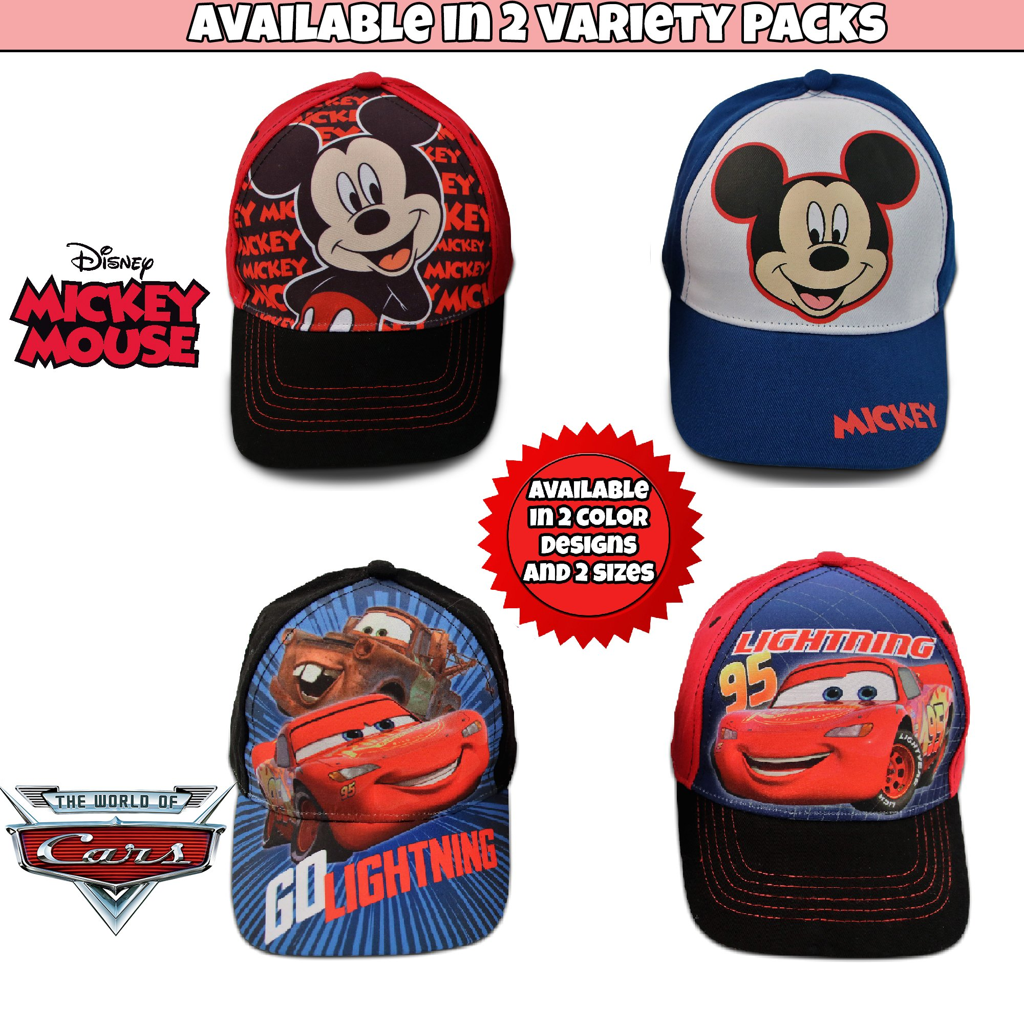 Disney Little Boys Assorted Character Cotton Baseball Cap, 2 Piece Design Set, Age 2-7 (Toddler Boys – Age 2-4 – 51 cm, Mickey Mouse Design – 2 Piece Set) by Disney (Image #5)