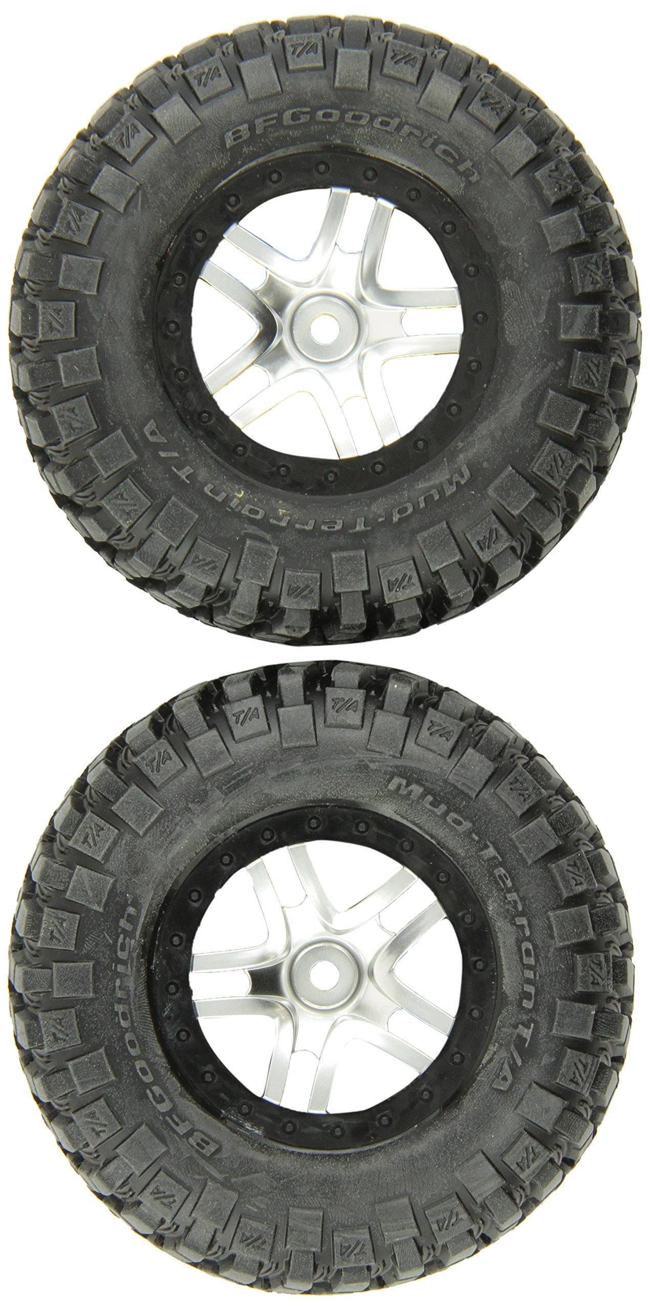 Traxxas 6873X S1 Compound BF Goodrich Mud-Terrain tires Pre-Glued on SCT Split Spoke Satin Chrome Wheels