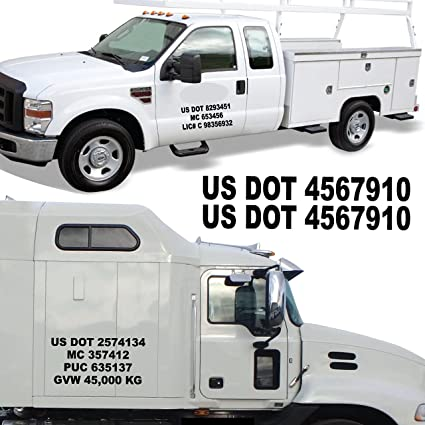 "2""H x 12""W US DOT NUMBERS. / Premium 10- 12 Year Custom Registration. / Sold Per Set. / Vinyl MC PUC GVW Lettering Truck Trailer Van Auto Vehicle Door Sign ..."