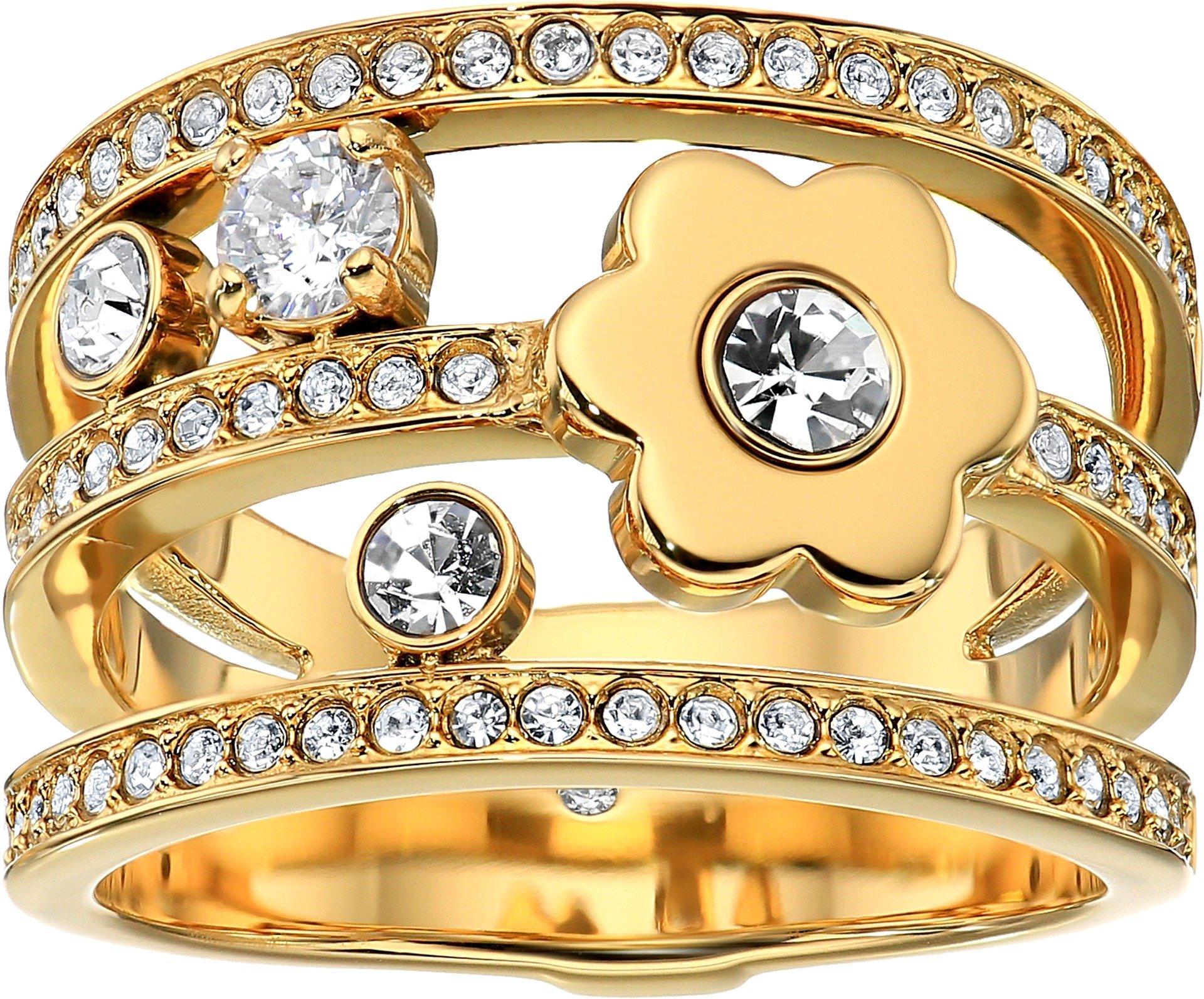 Michael Kors Womens Gold-Tone Flower Ring, 6