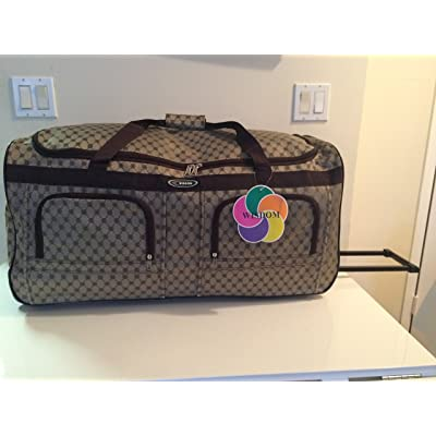 "30"" Designer Style Print Travel Rolling Duffle Bag w/ Retactable Handle"