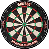 Viper AIM 360 Sisal/Bristle Steel Tip Dartboard with Razor-Thin Spider, Training Marks and Movable Target Rings