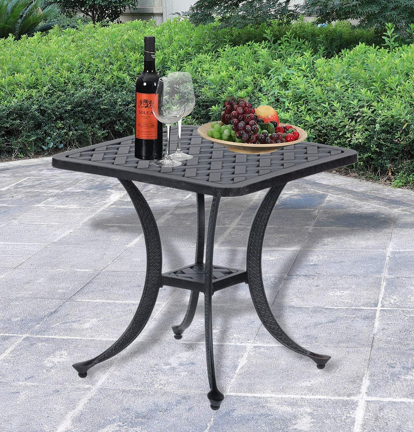 Patio Sparta Standard Square Cast Aluminum Side Table/Outdoor End Table Best Patio Furniture