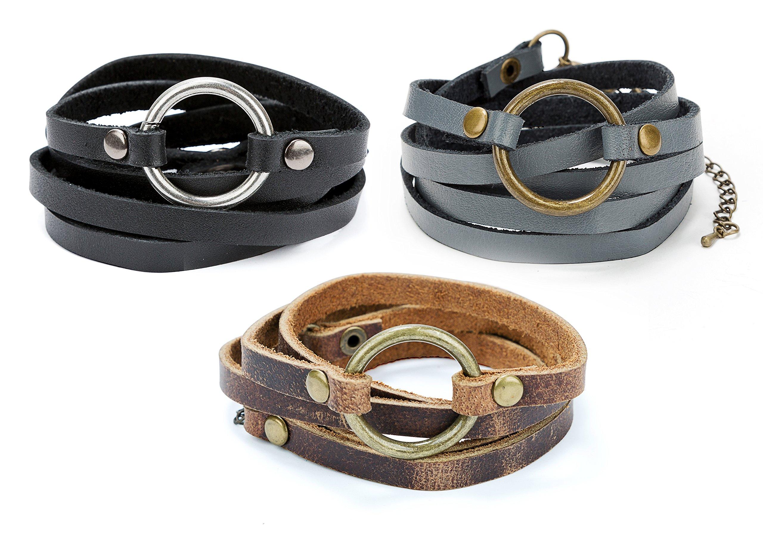 SPUNKYsoul 5 Wrap Leather Circle Bracelet Black, Brown & Grey for Women Collection (Set of 3)