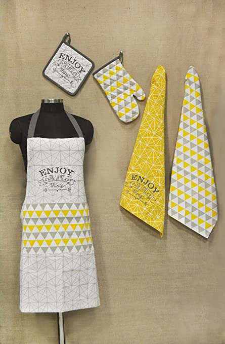 R Home Printed Cotton Chefu0027S Apron Set With Mitten, Pot Holder And Kitchen  Towels,