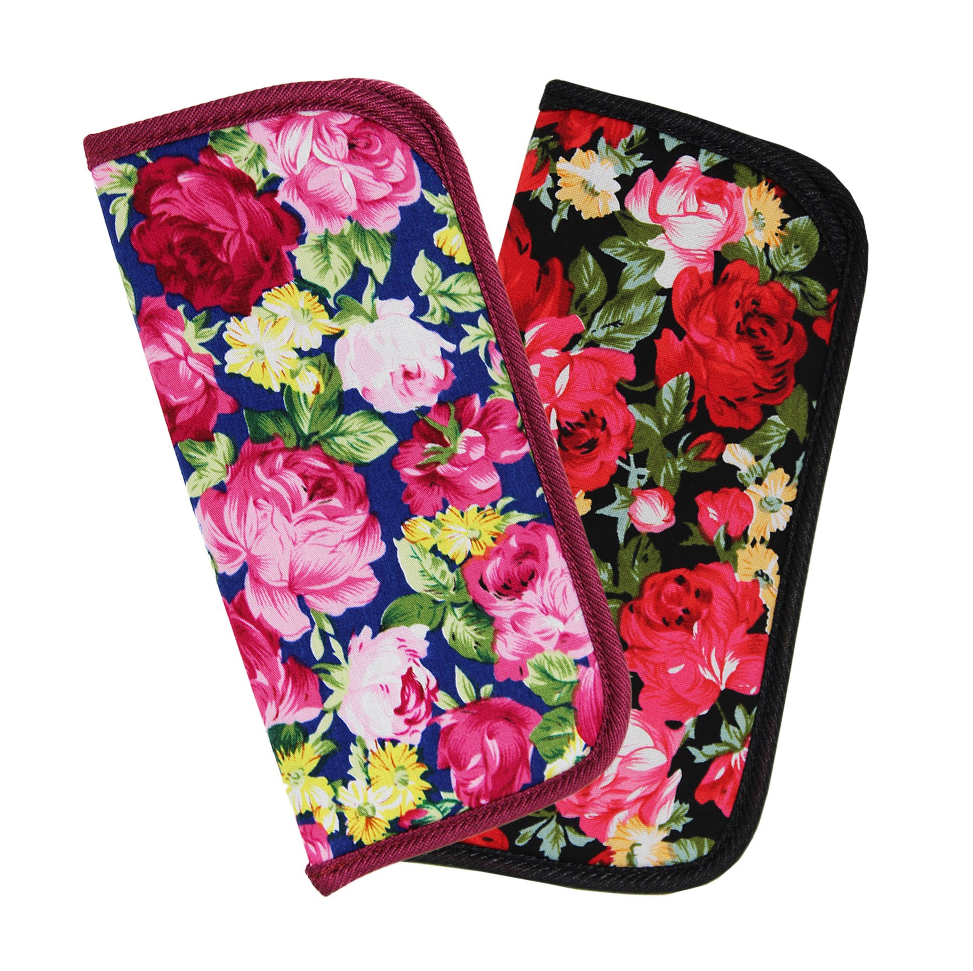 2 Pack Soft Slip In Eyeglass Case for Women Glasses, Reading Glasses, or Sunglasses – Fabric Floral Case