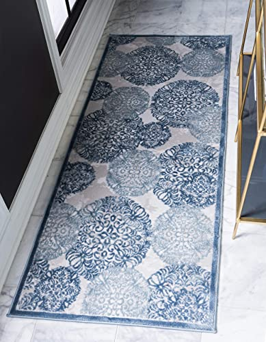 Unique Loom Aberdeen Collection Traditional Textured Vintage Blue Runner Rug 2 7 x 8 2