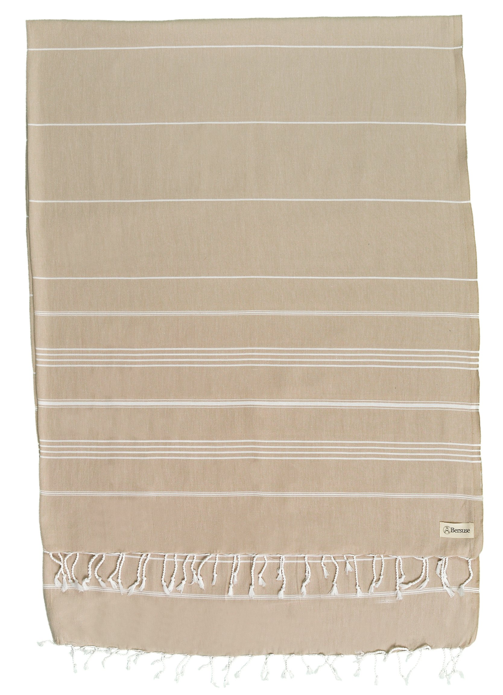 Bersuse 100% Cotton - Anatolia XL Blanket Turkish Towel - Bath Beach Fouta Peshtemal - Multipurpose Bed or Couch Throw, Table Cover or Picnic Mat - Striped - 61X82 Inches, Beige (Set of 6)