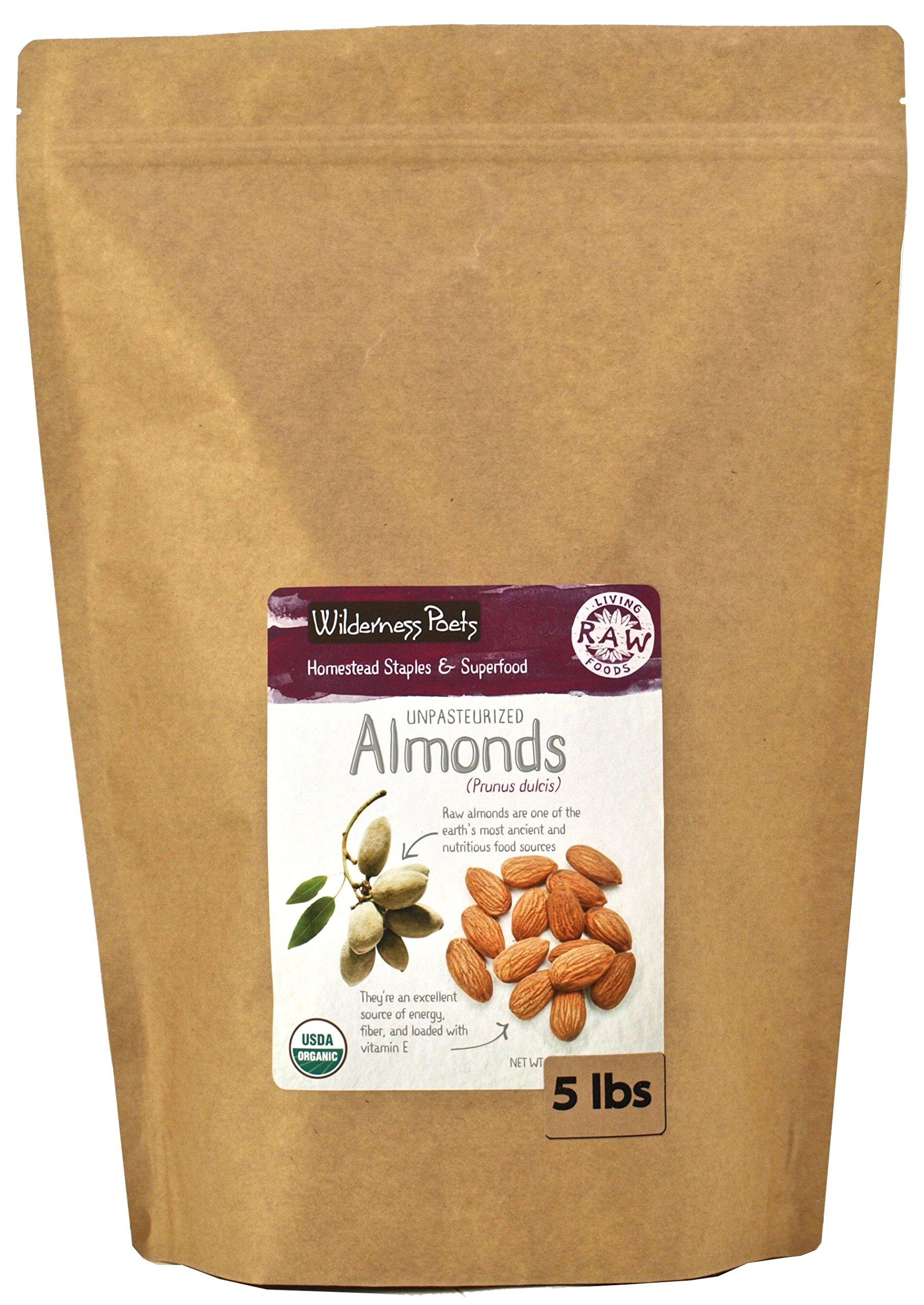 Wilderness Poets Unpasteurized Almonds - Raw Organic Almonds - Bulk Almonds, 5 lb (80 oz)