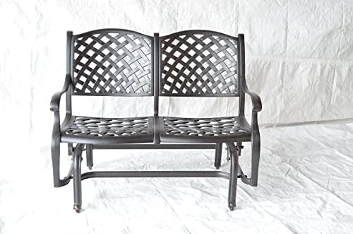 Nassau Outdoor Patio Bench Glider Dark Bronze Color Cast Aluminum Set of 2