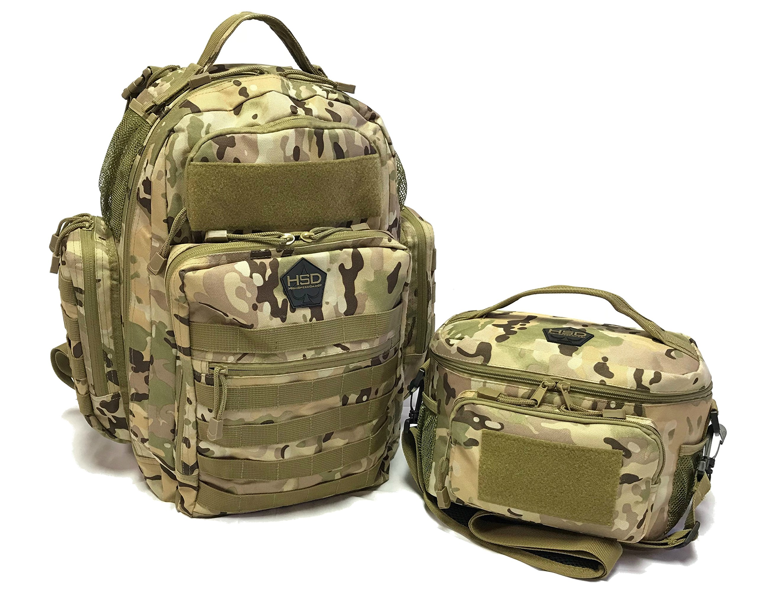 HSD Dynamic Duo Combo Diaper Bag Backpack + Tactical Lunch Bag For the Tactical Dad (Multicam)