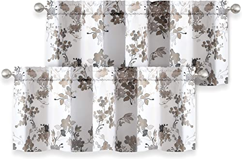 DriftAway Watercolor Floral Botanical Lined Thermal Insulated Window Curtain Valance Rod Pocket 52 Inch by 18 Inch Plus 2 Inch Header White Beige 2 Pack