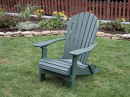 Turf Green-Poly Lumber Folding Adirondack Chair