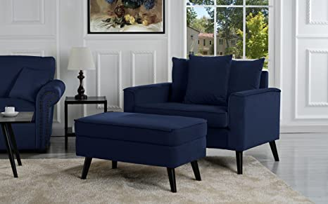 on sale b0d59 4f692 Mid-Century Modern Living Room Large Accent Chair with Footrest/Storage  Ottoman (Navy)