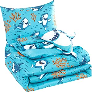 WPM Kids Collection Bedding 4 Piece Blue Ocean Sea Life Shark Print Twin Size Comforter Set with Sheet Pillow sham and Baby Shark Toy Included Fun Design (Baby Shark, Twin Comforter)