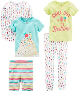 Carters Baby-Girl 5-Piece Cotton Snug-fit Pajamas