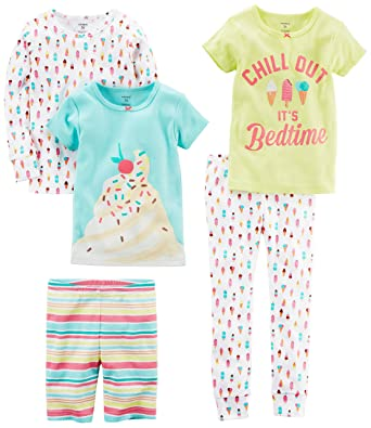 18cbcb538 Amazon.com  Carter s Baby Girls  5-Piece Cotton Snug-fit Pajamas ...