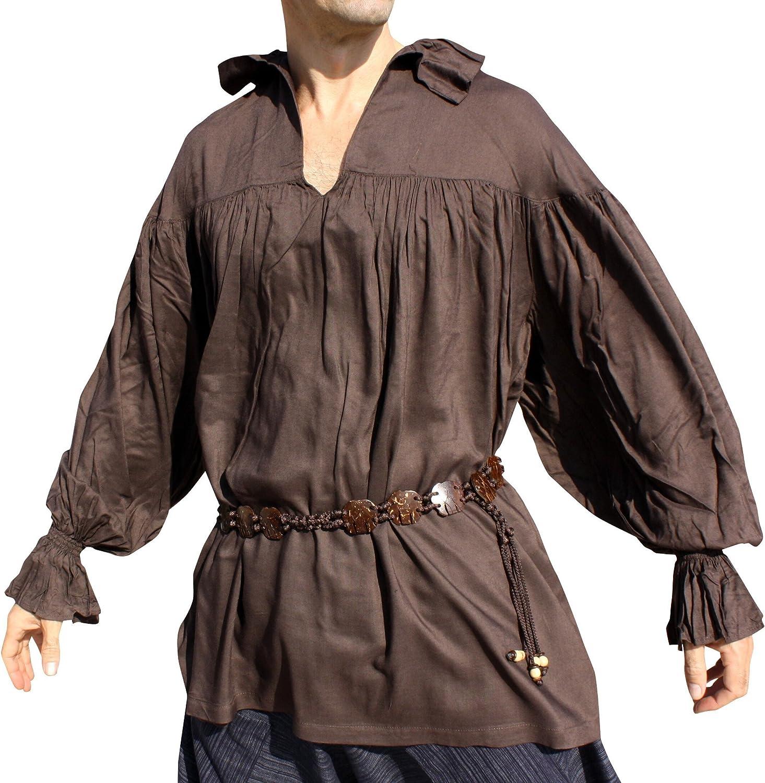 RaanPahMuang Renaissance Courtesans Wave Collar Long Sleeve Shirt Plain Rayon