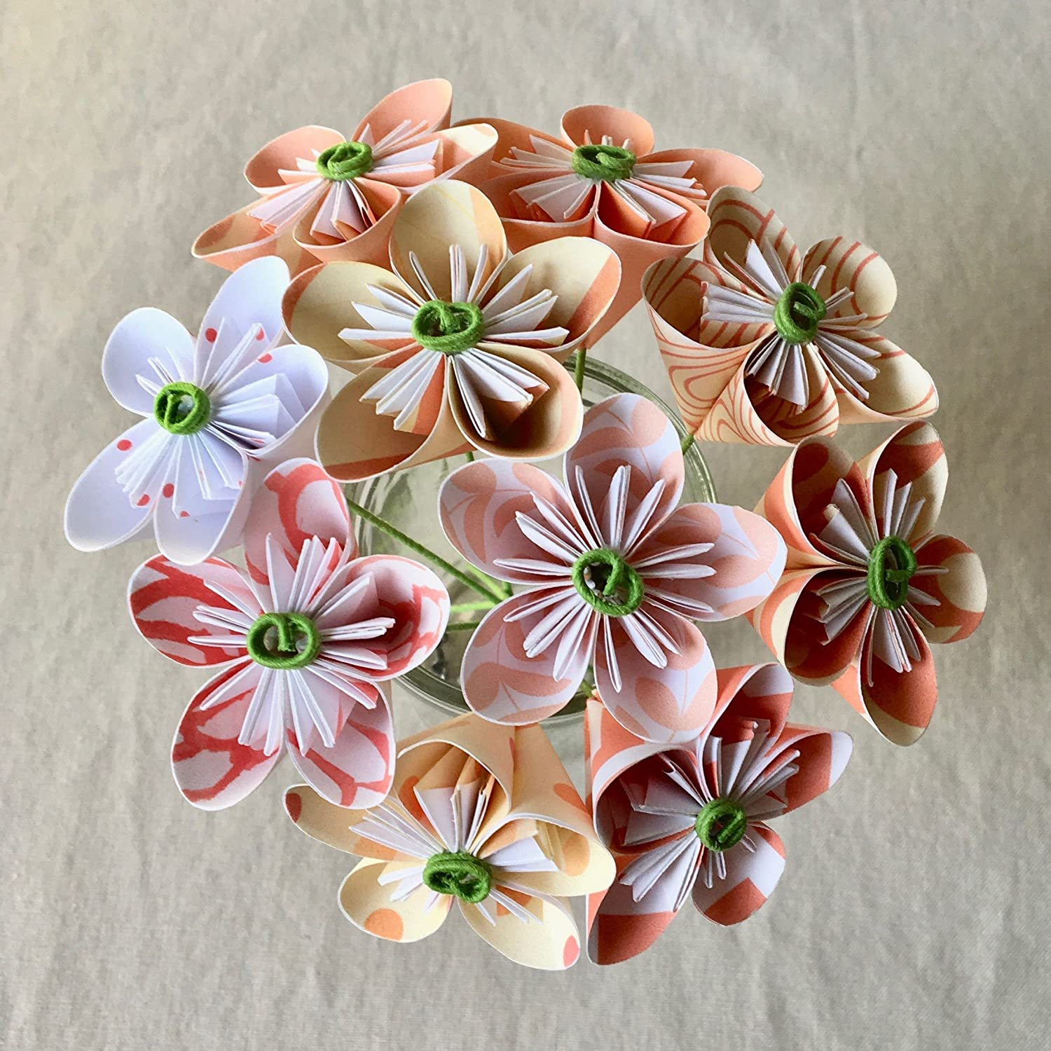 Mini coral white origami flower arrangement mightylinksfo