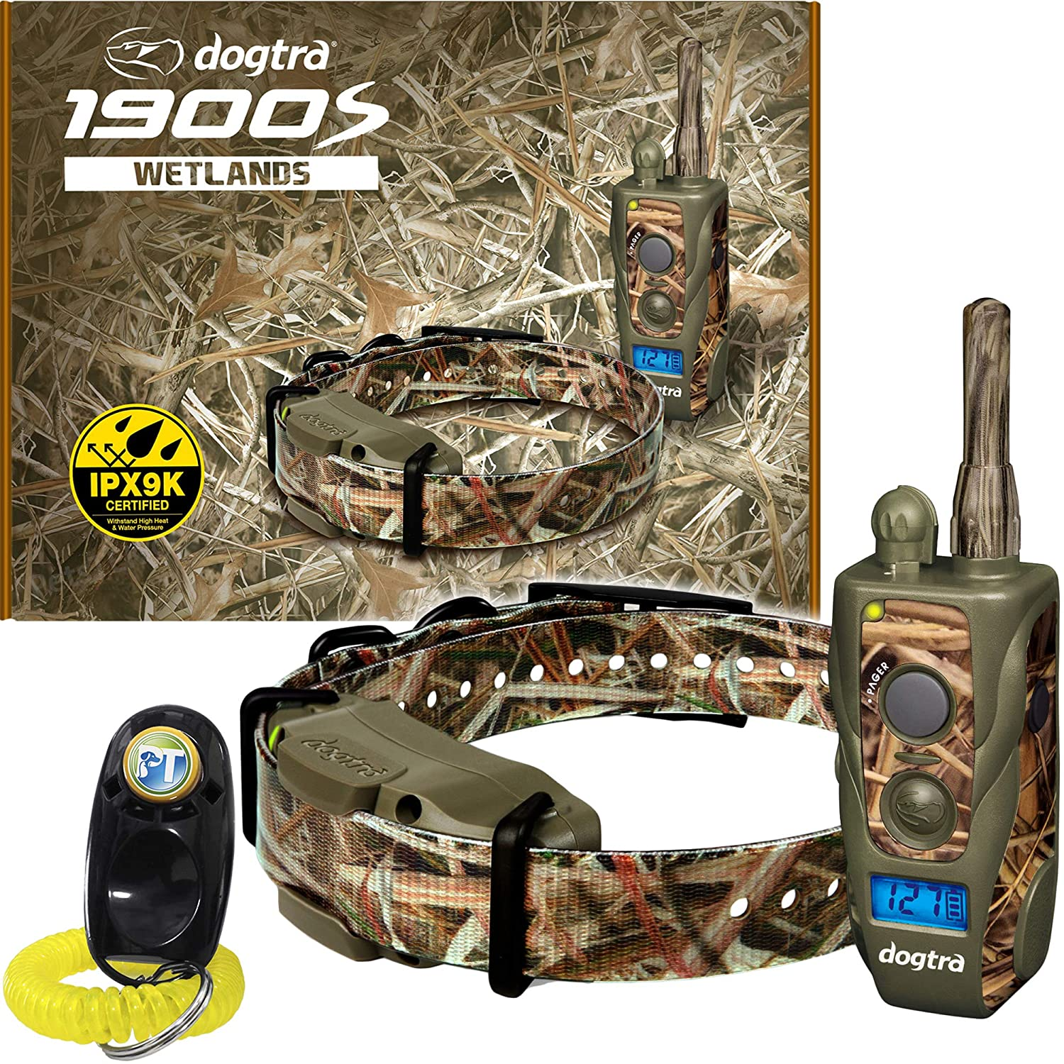 Dogtra 1900S Wetlands Camo Remote Training Collar – 3 4 Mile Range, Waterproof, Rechargeable, Shock, Vibration – Includes PetsTEK Dog Training Clicker
