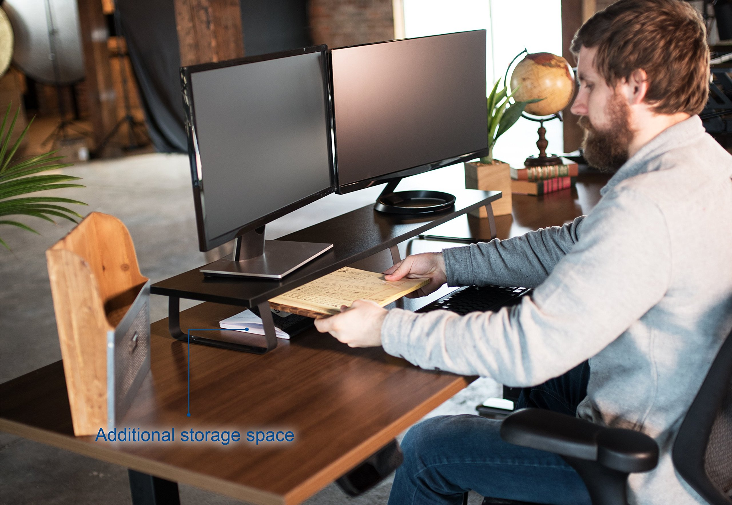 VIVO Black Wood 39'' Wide Extra Long Desktop Stand Ergonomic TV, Dual Monitor Riser and Desk Tabletop Organizer (STAND-V000DL) by VIVO (Image #6)