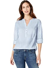 Amazon Essentials Women's Relaxed-Fit Lightweight 3/4 Sleeve Cotton Popover Shirt