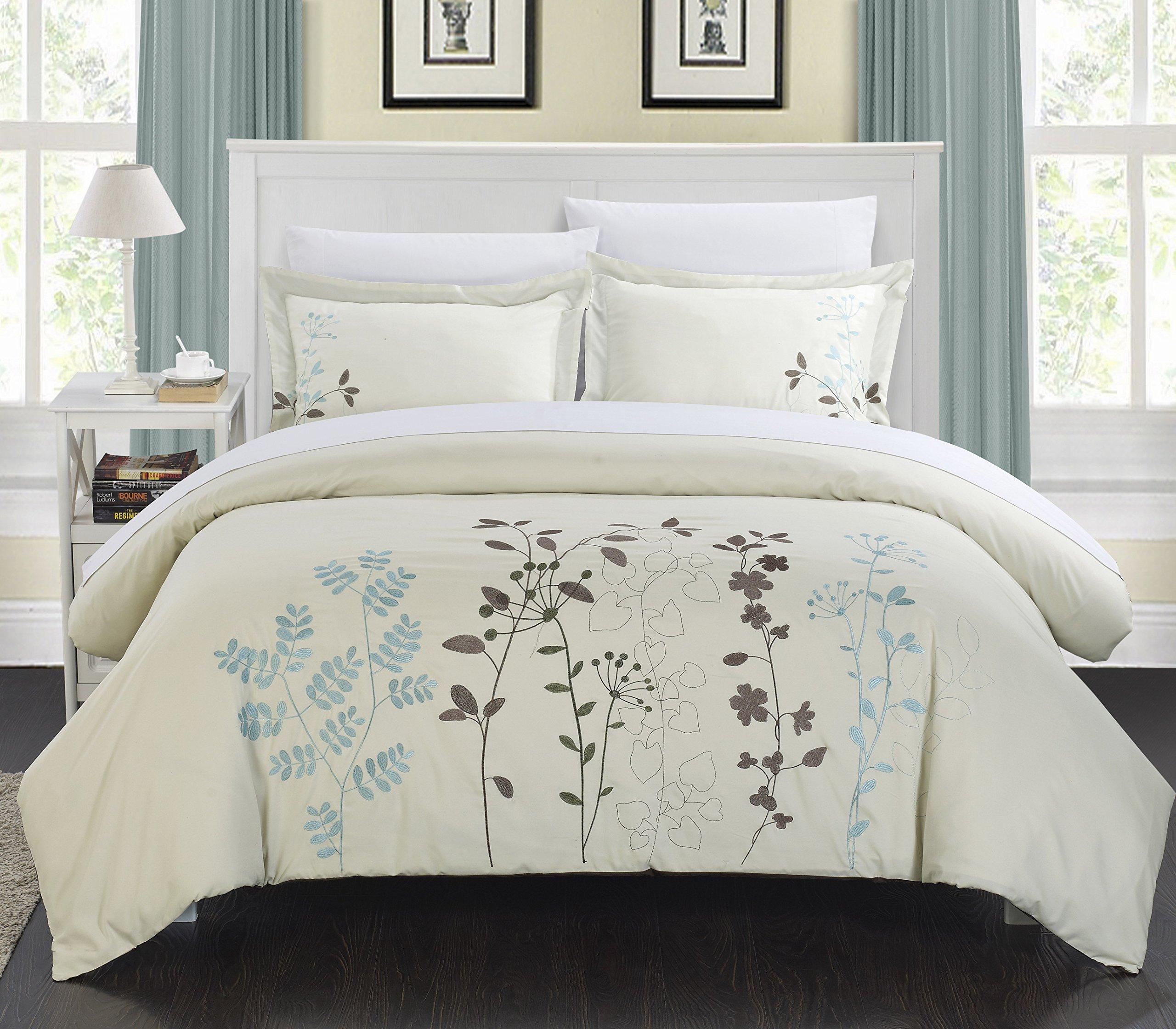 Chic Home 3-Piece Kaylee Floral Embroidered Duvet Set, Queen Beige