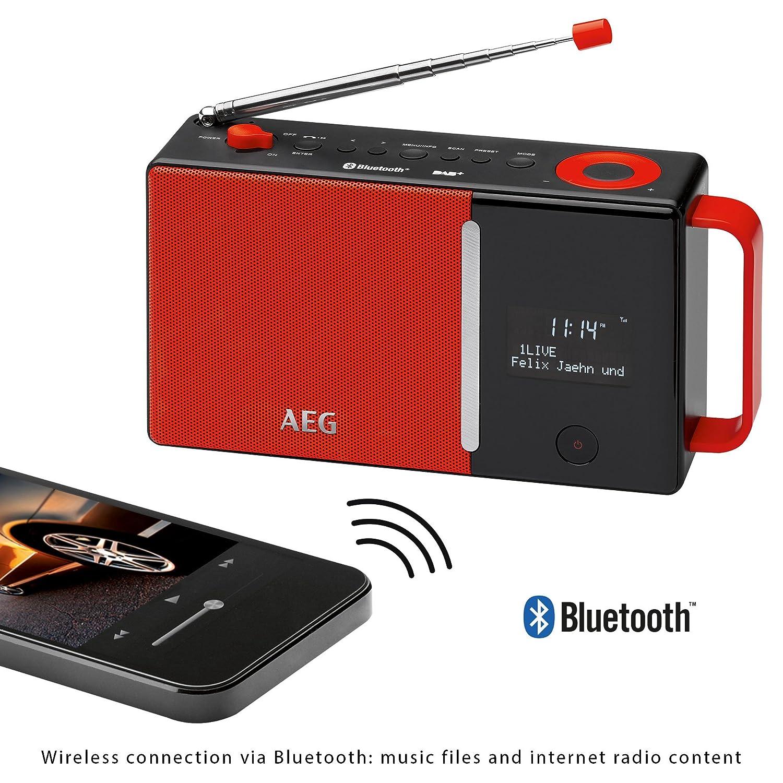 AEG Dab 4158/Dab de bater/ía de operativos//Red Rojo//Negro RDS Entrada Auxiliar Bluetooth Radio Incluye PLL FM Radio