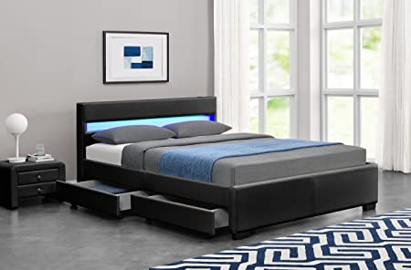 Exclusive Harmin Designer Musical, Bluetooth LED Colour Changing Faux  Leather Bed Frame With Remote For