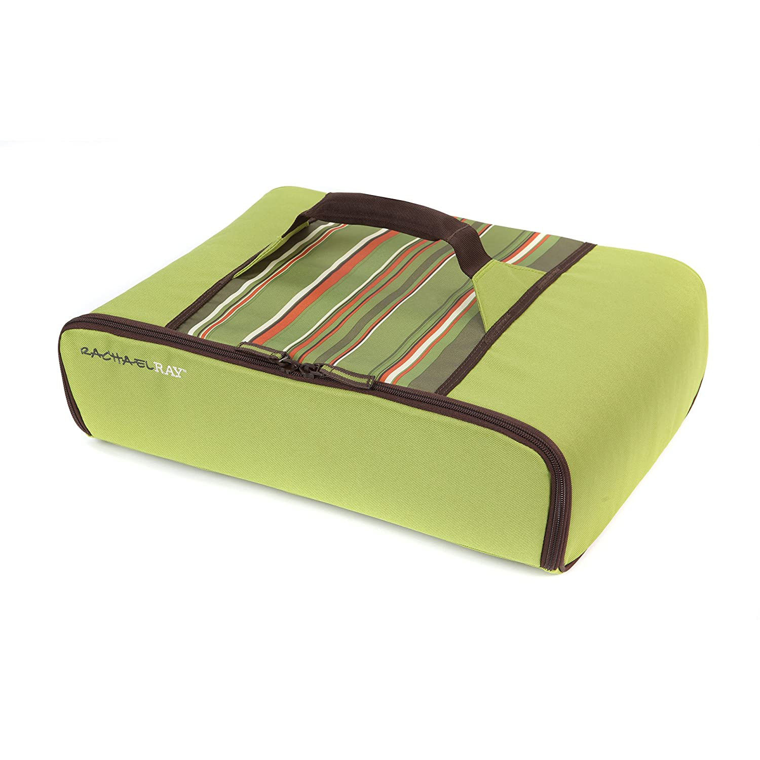 "Rachael Ray Universal Thermal Carrier, Fits 9""X13"" Baking Dishes, Insulated Casserole Carrier for Hot and Cold Transport, Green Stripe"