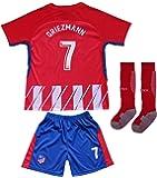 2017/2018 Atletico Madrid #7 Antoine GRIEZMANN Home Football Futbol Soccer Kids Jersey Shorts Socks Set Youth Sizes