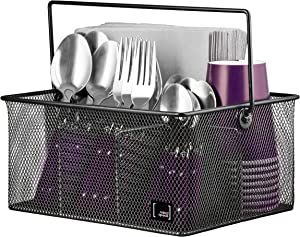 Utensil Holder By Mindspace, Kitchen Condiment Organizer and Flatware Utensil Caddy | The Mesh Collection, Black