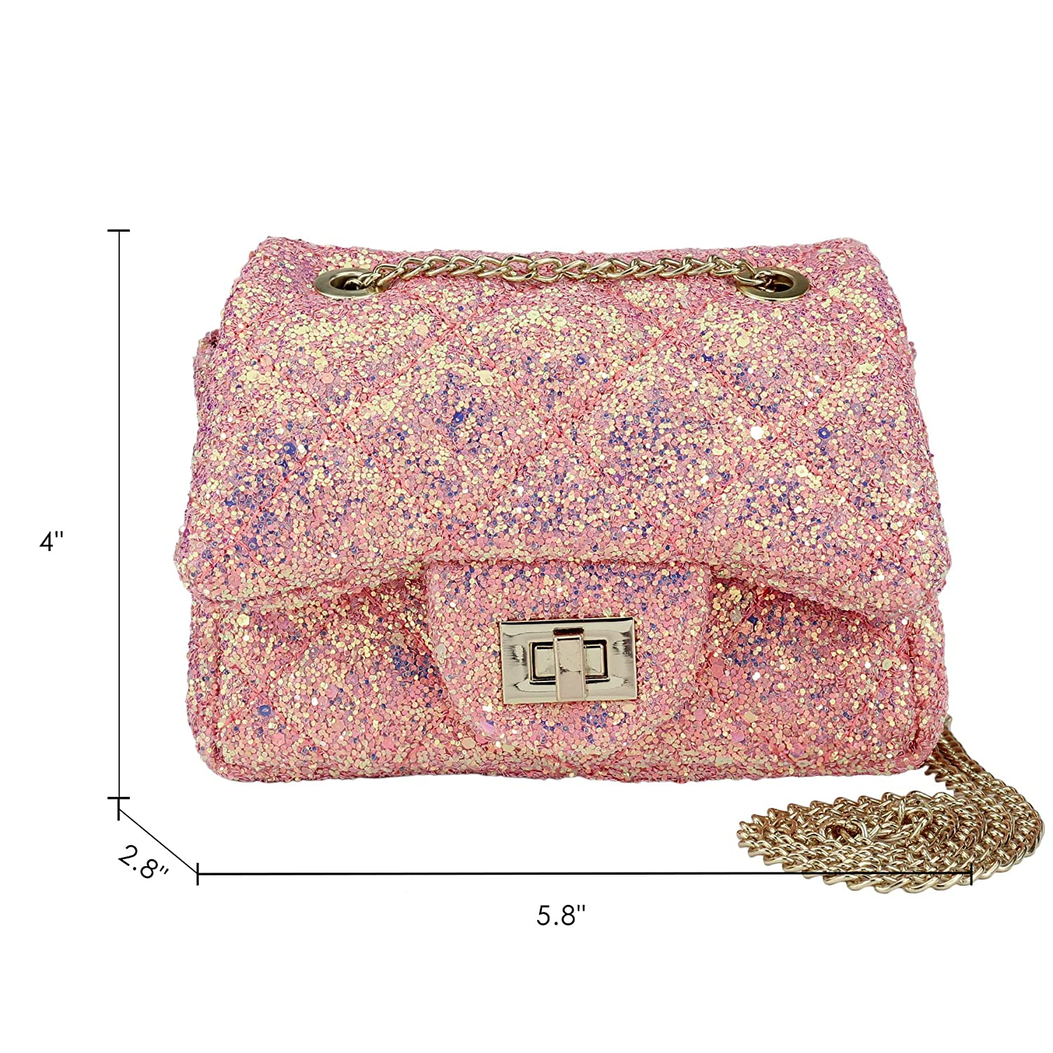 dc827419c Amazon.com: CMK Trendy Kids Glitter Toddler Purse for Girls Sparkly Quilted  Little Girl Purses (80001_Chunky Pink): Shoes