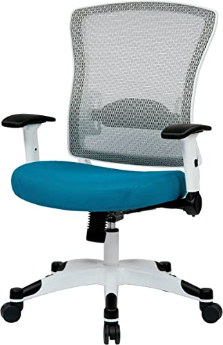 SPACE Seating Breathable Mesh Back and Padded Mesh Seat, Adjustable Arms, Tilt Tension and Lumbar Support with White Coated Nylon Frame Managers Chair, Blue