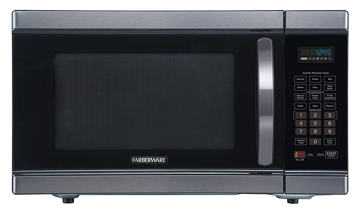 Farberware Black FMO11AHTBSJ 1.1 Cu. Ft 1100-Watt Microwave Oven with Smart Sensor Cooking, Inverter Technology, ECO Mode and LED Lighting, Black Stainless Steel