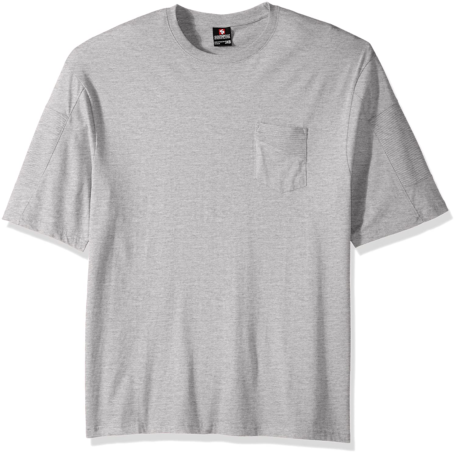 Southpole Men's Big and Tall Short Sleeve Tee with Moto Biker Details on Sleeves